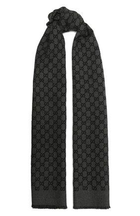Мужской шерстяной шарф GUCCI темно-серого цвета, арт. 391246/4G200 | Фото 1 (Материал: Шерсть; Кросс-КТ: шерсть; Статус проверки: Проверена категория)