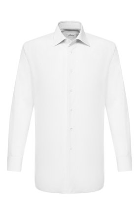 Мужская хлопковая сорочка BRIONI белого цвета, арт. RCLU36/PZ005 | Фото 1 (Длина (для топов): Стандартные; Рукава: Длинные; Материал внешний: Хлопок; Статус проверки: Проверено; Случай: Формальный)