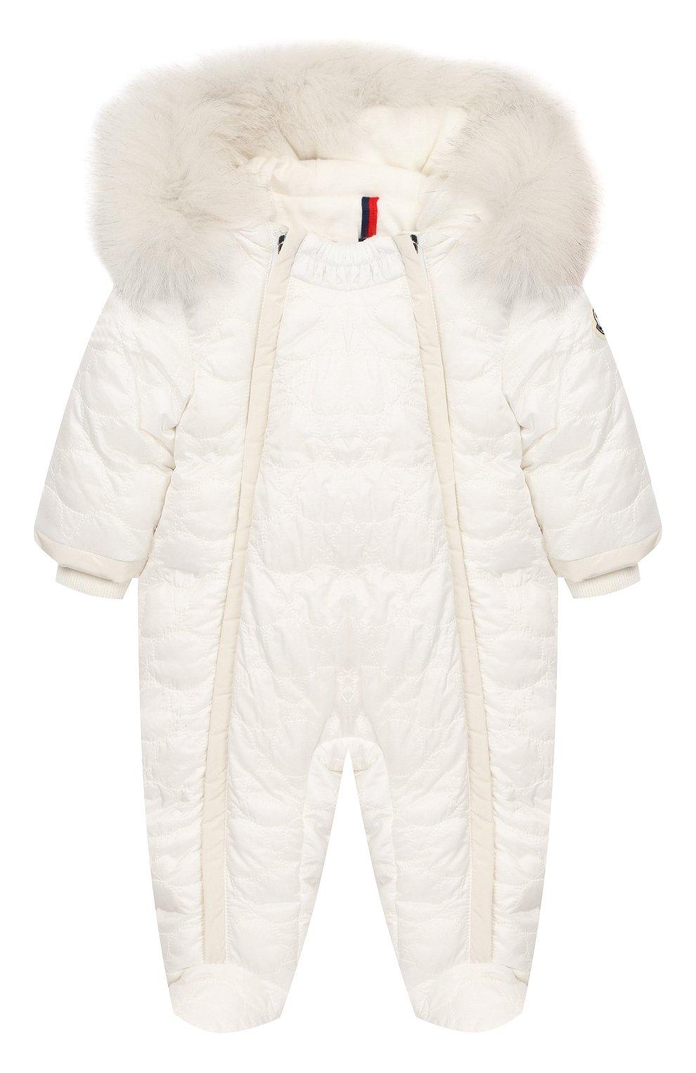 Детский пуховый комбинезон с мехом MONCLER ENFANT белого цвета, арт. D2-951-14359-25-788AU   Фото 1