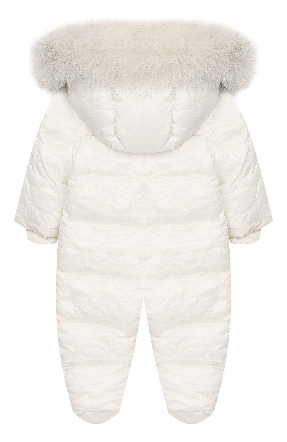 Детский пуховый комбинезон с мехом MONCLER ENFANT белого цвета, арт. D2-951-14359-25-788AU   Фото 2