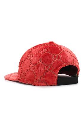 Женская бархатная кепка gg GUCCI красного цвета, арт. 527075/3HD87 | Фото 2