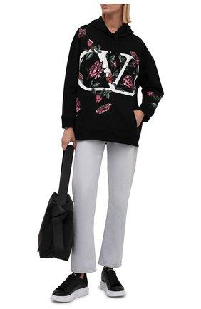 Женские кожаные кеды ALEXANDER MCQUEEN черного цвета, арт. 553770/WHGP0   Фото 2