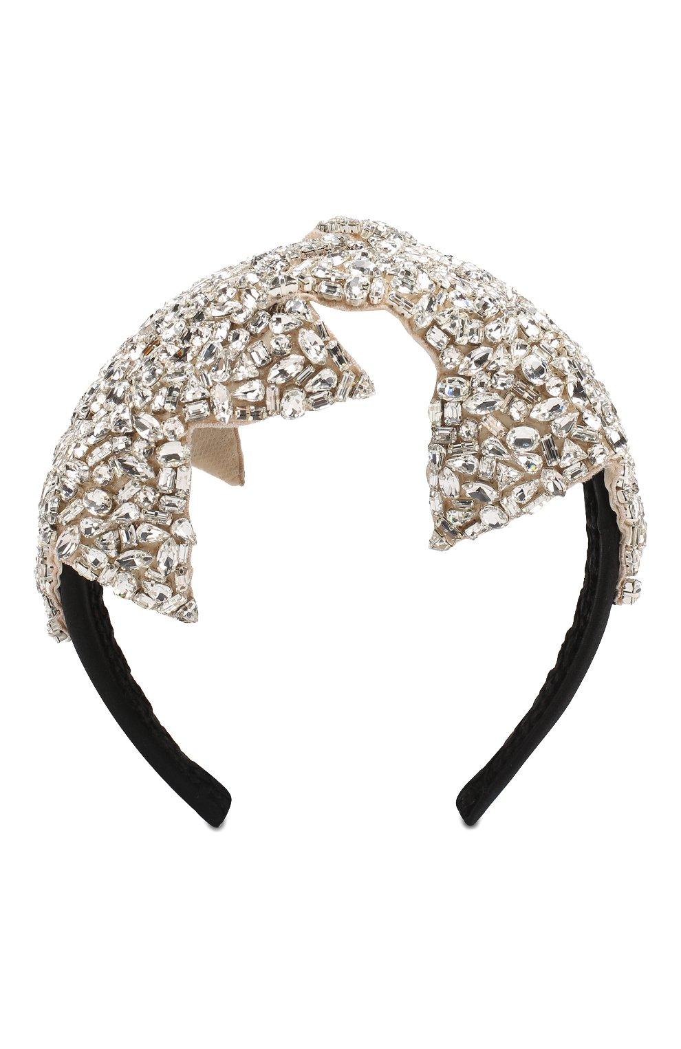 Ободок с отделкой кристаллами Dolce & Gabbana серебряного цвета | Фото №1