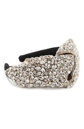 Ободок с отделкой кристаллами Dolce & Gabbana серебряного цвета | Фото №2