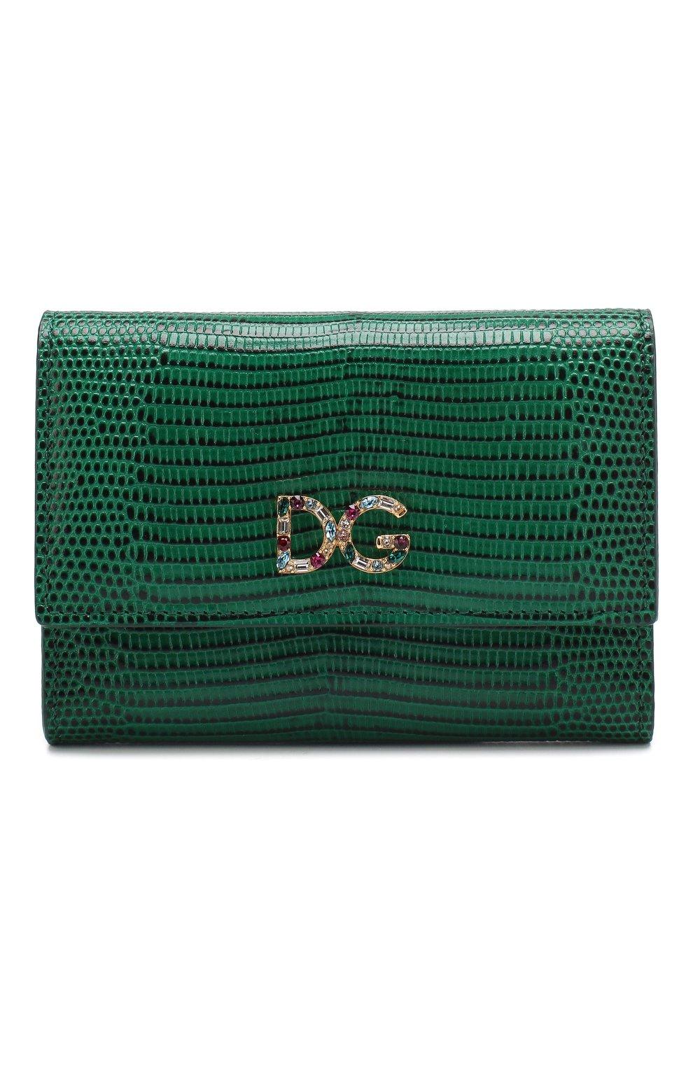 Кожаный кошелек на кнопке Dolce & Gabbana зеленого цвета | Фото №1