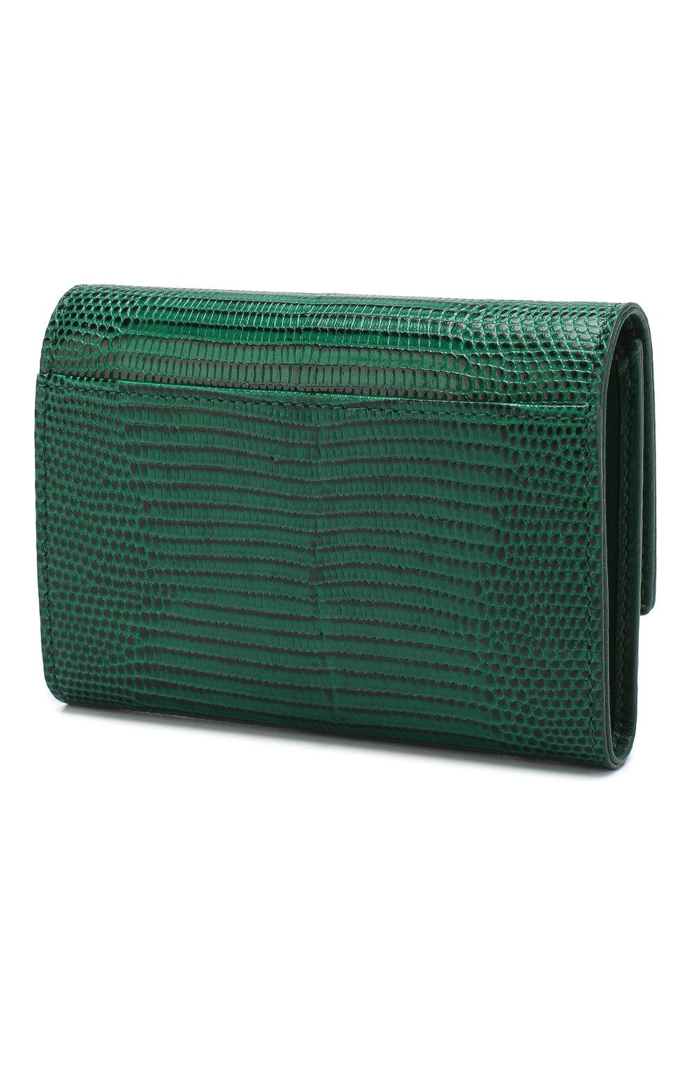 Кожаный кошелек на кнопке Dolce & Gabbana зеленого цвета | Фото №2
