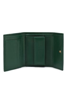 Кожаный кошелек на кнопке Dolce & Gabbana зеленого цвета | Фото №3