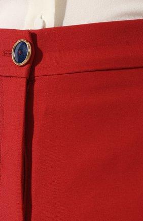 Брюки из смеси шерсти и шелка Valentino красные | Фото №5