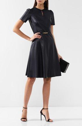 Женское кожаное платье с поясом RALPH LAUREN синего цвета, арт. 290740160 | Фото 2