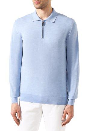 Мужское шерстяное поло BRIONI светло-голубого цвета, арт. UMS10L/0ZK18 | Фото 3