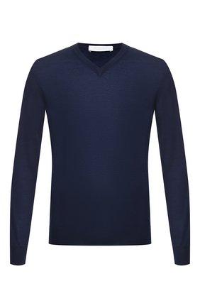 Мужской пуловер из смеси кашемира и шелка CRUCIANI темно-синего цвета, арт. CU487B.V03F6V | Фото 1