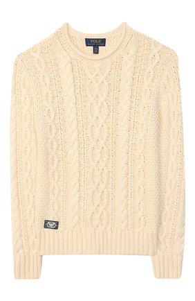 Детский хлопковый пуловер POLO RALPH LAUREN бежевого цвета, арт. 323712073 | Фото 1