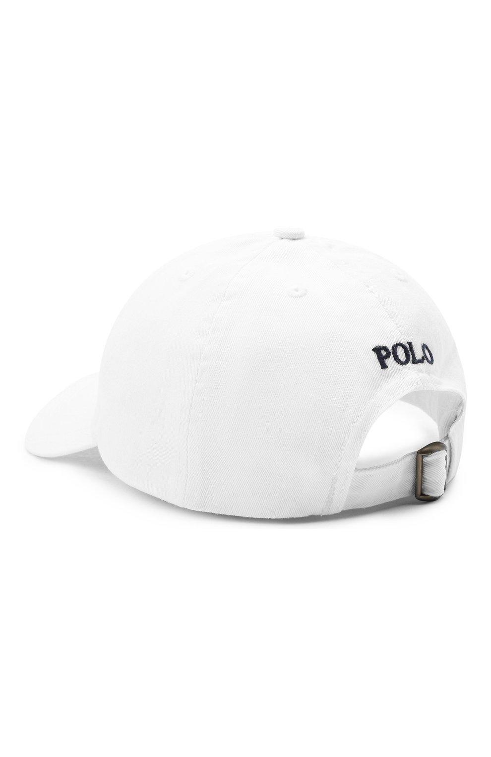 Хлопковая бейсболка Polo Ralph Lauren белого цвета   Фото №2