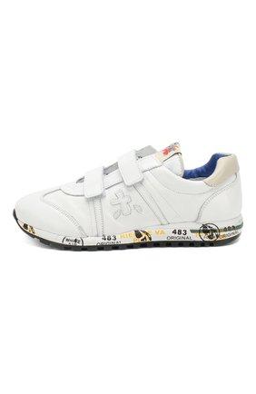 Детские кожаные кроссовки с застежками велькро PREMIATA WILL BE белого цвета, арт. LUCY V/0781/JUN   Фото 2