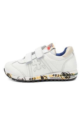 Детские кожаные кроссовки с застежками велькро PREMIATA WILL BE белого цвета, арт. LUCY V/0781/CHILD   Фото 2