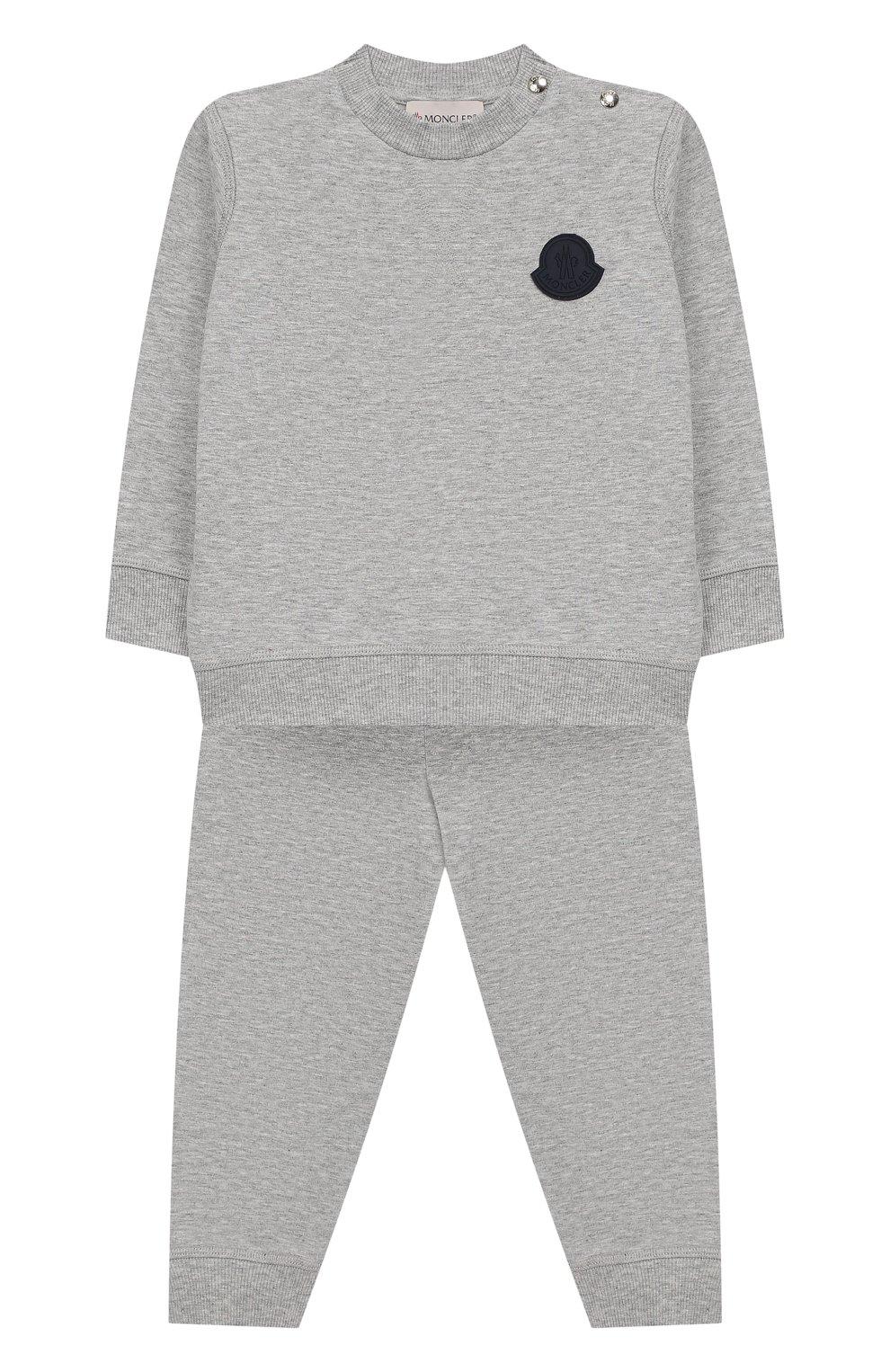 Детский комплект из хлопкового свитшота и брюк MONCLER ENFANT серого цвета, арт. E1-951-88125-05-809AC | Фото 1