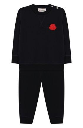Детский комплект из хлопкового свитшота и брюк MONCLER ENFANT синего цвета, арт. E1-951-88125-05-809AC | Фото 1