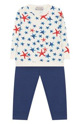 Детский комплект из хлопкового свитшота и брюк MONCLER ENFANT белого цвета, арт. E1-951-88586-50-809AC | Фото 1