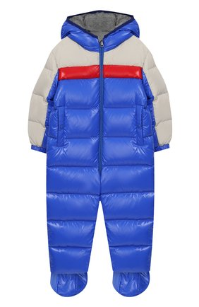 Детский комплект из пухового комбинезона и пинеток MONCLER ENFANT синего цвета, арт. D2-951-14360-85-68950/3M-18M | Фото 1