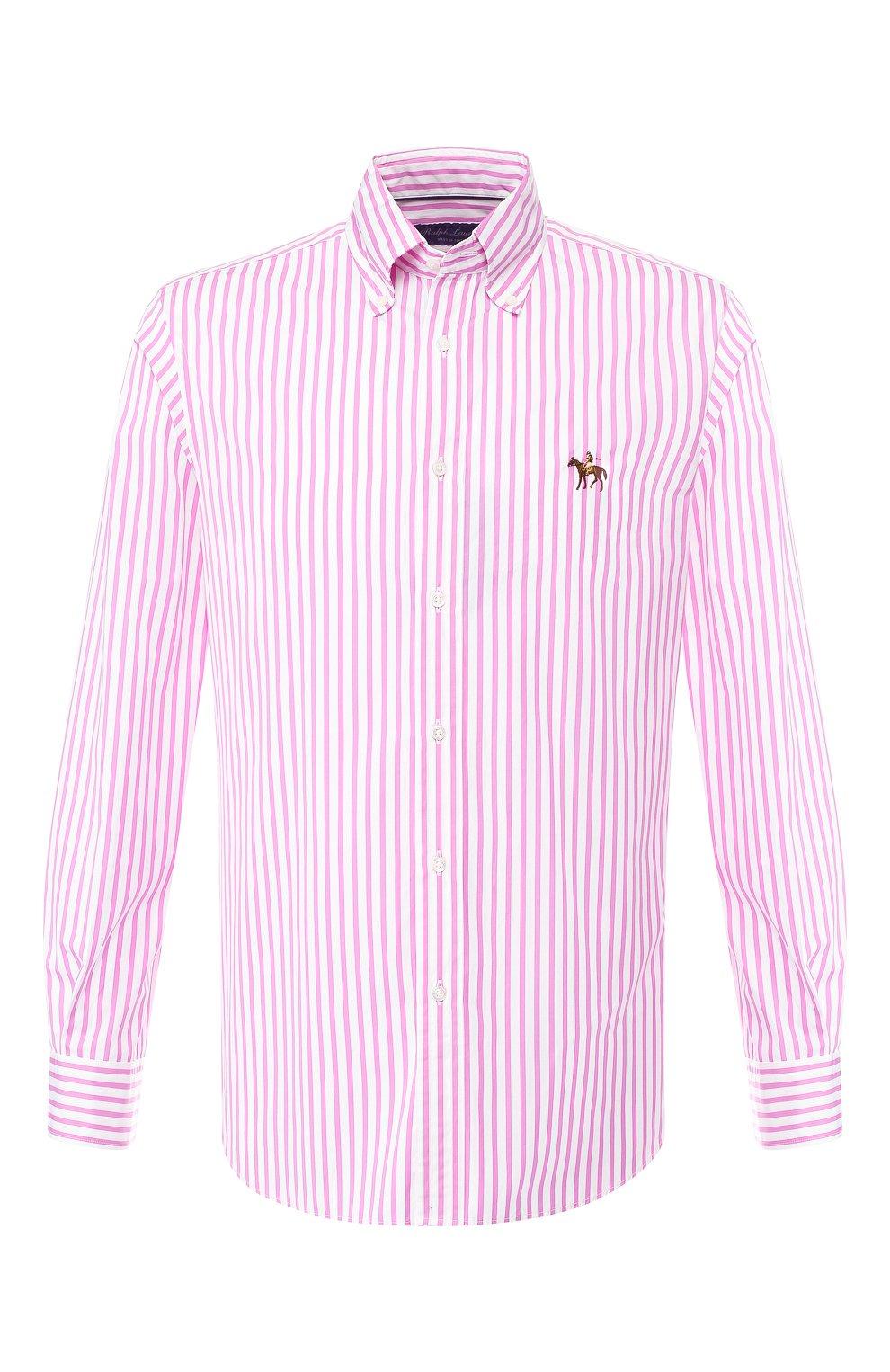 Мужская хлопковая рубашка с воротником button down RALPH LAUREN розового цвета, арт. 790730895   Фото 1