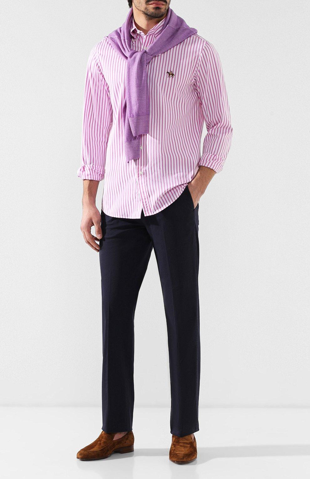 Мужская хлопковая рубашка с воротником button down RALPH LAUREN розового цвета, арт. 790730895   Фото 2
