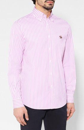 Мужская хлопковая рубашка с воротником button down RALPH LAUREN розового цвета, арт. 790730895   Фото 3