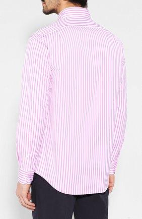 Мужская хлопковая рубашка с воротником button down RALPH LAUREN розового цвета, арт. 790730895   Фото 4