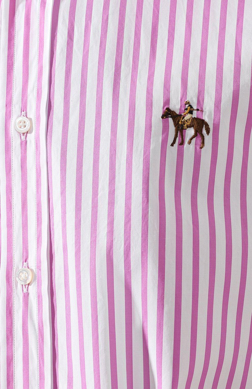 Мужская хлопковая рубашка с воротником button down RALPH LAUREN розового цвета, арт. 790730895   Фото 5