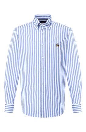 Мужская хлопковая рубашка с воротником button down RALPH LAUREN голубого цвета, арт. 790730895 | Фото 1