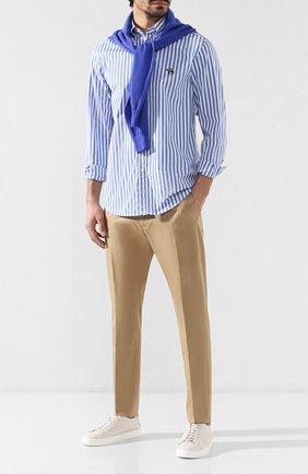 Мужская хлопковая рубашка с воротником button down RALPH LAUREN голубого цвета, арт. 790730895 | Фото 2