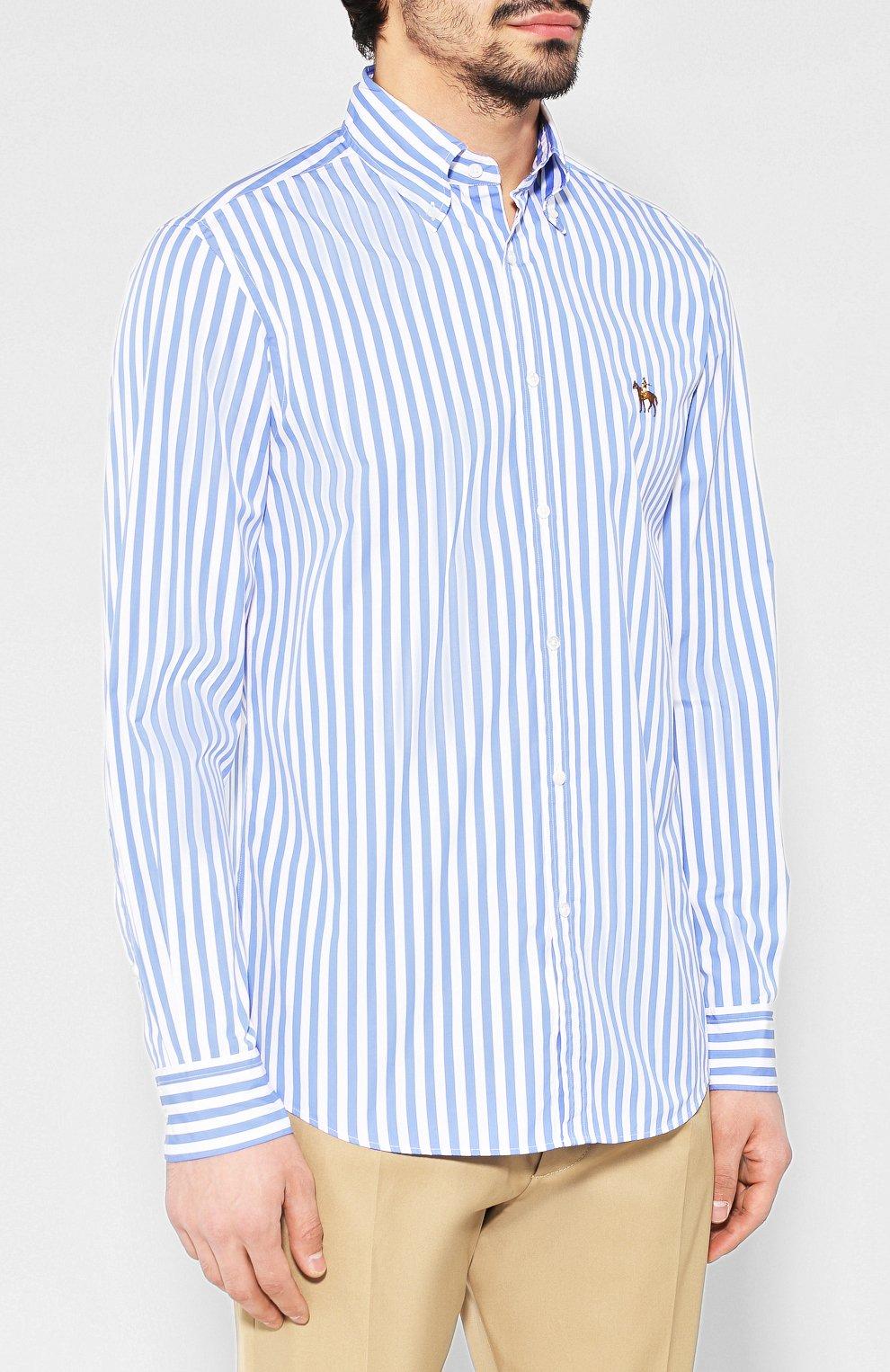 Мужская хлопковая рубашка с воротником button down RALPH LAUREN голубого цвета, арт. 790730895 | Фото 3