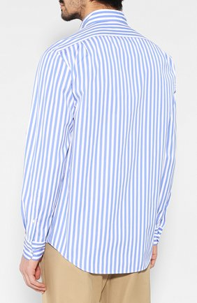 Мужская хлопковая рубашка с воротником button down RALPH LAUREN голубого цвета, арт. 790730895 | Фото 4