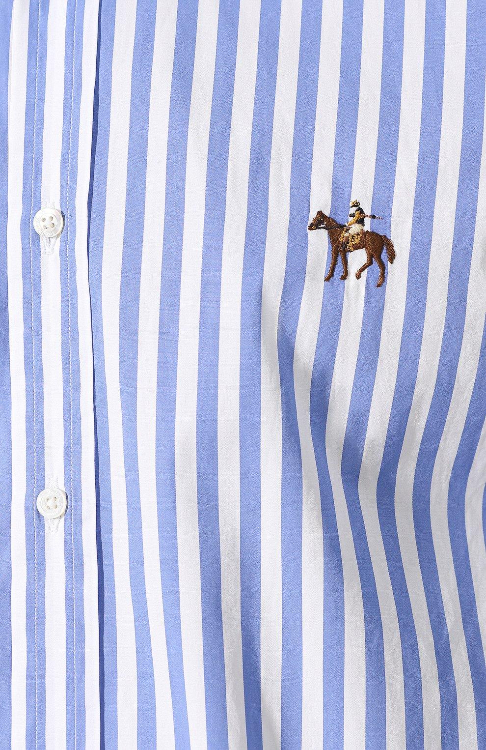 Мужская хлопковая рубашка с воротником button down RALPH LAUREN голубого цвета, арт. 790730895 | Фото 5