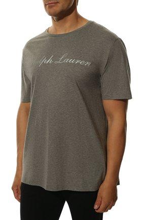 Мужская хлопковая футболка  RALPH LAUREN серого цвета, арт. 790702874 | Фото 3