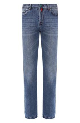 Мужские джинсы прямого кроя KITON голубого цвета, арт. UPNJS1/J07R52 | Фото 1