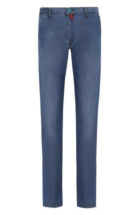 Мужские джинсы прямого кроя KITON голубого цвета, арт. UFPP79/J07R56 | Фото 1