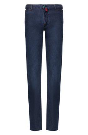 Мужские джинсы прямого кроя KITON синего цвета, арт. UFPP79/J07R56 | Фото 1