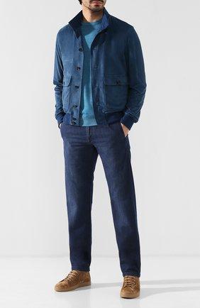 Мужские джинсы прямого кроя KITON синего цвета, арт. UFPP79/J07R56 | Фото 2