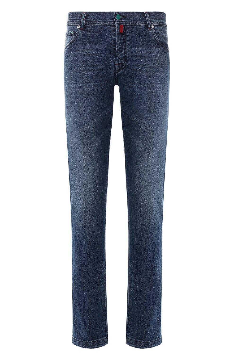 Мужские джинсы прямого кроя KITON синего цвета, арт. UPNJS/J07R52 | Фото 1