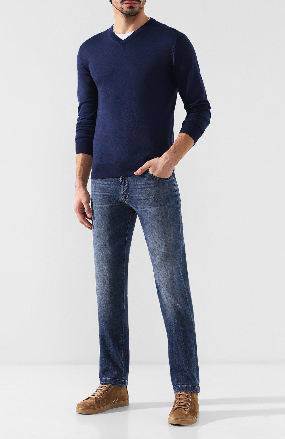 Мужские джинсы прямого кроя KITON синего цвета, арт. UPNJS/J07R52 | Фото 2