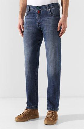 Мужские джинсы прямого кроя KITON синего цвета, арт. UPNJS/J07R52 | Фото 3