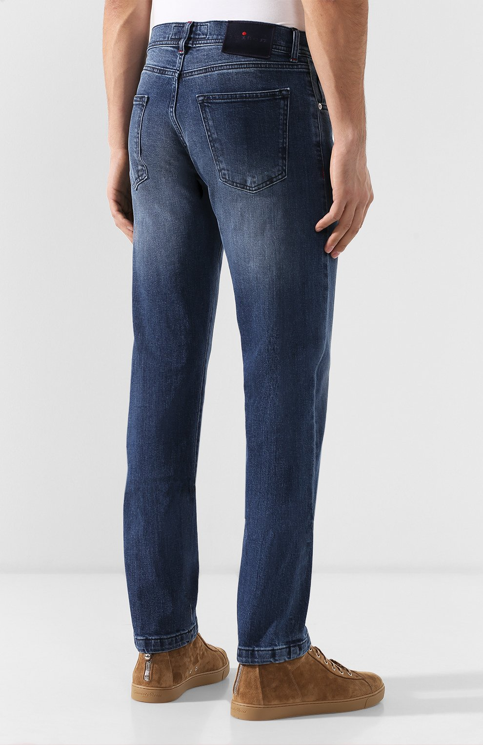 Мужские джинсы прямого кроя KITON синего цвета, арт. UPNJS/J07R52 | Фото 4