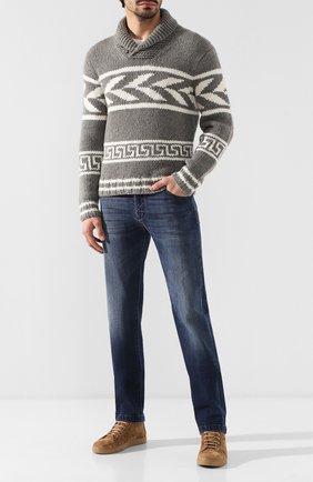 Мужские джинсы прямого кроя KITON темно-синего цвета, арт. UPNJS/J07R52 | Фото 2