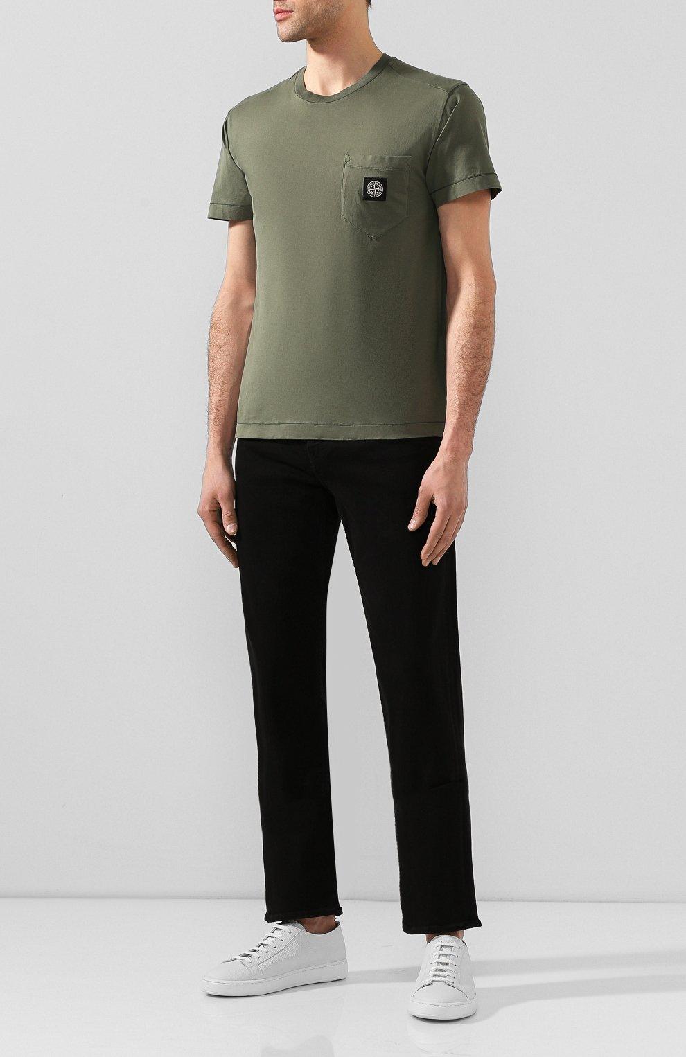 Мужские джинсы 7 FOR ALL MANKIND черного цвета, арт. JSMNA220BC   Фото 2 (Силуэт М (брюки): Прямые; Длина (брюки, джинсы): Стандартные; Материал внешний: Хлопок)