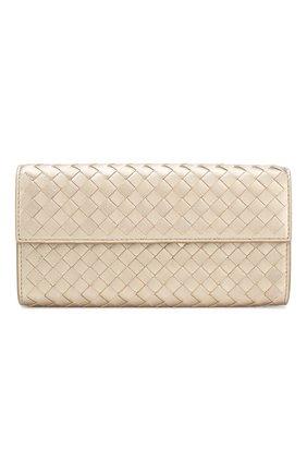 Кожаное портмоне с плетением intrecciato на молнии   Фото №1