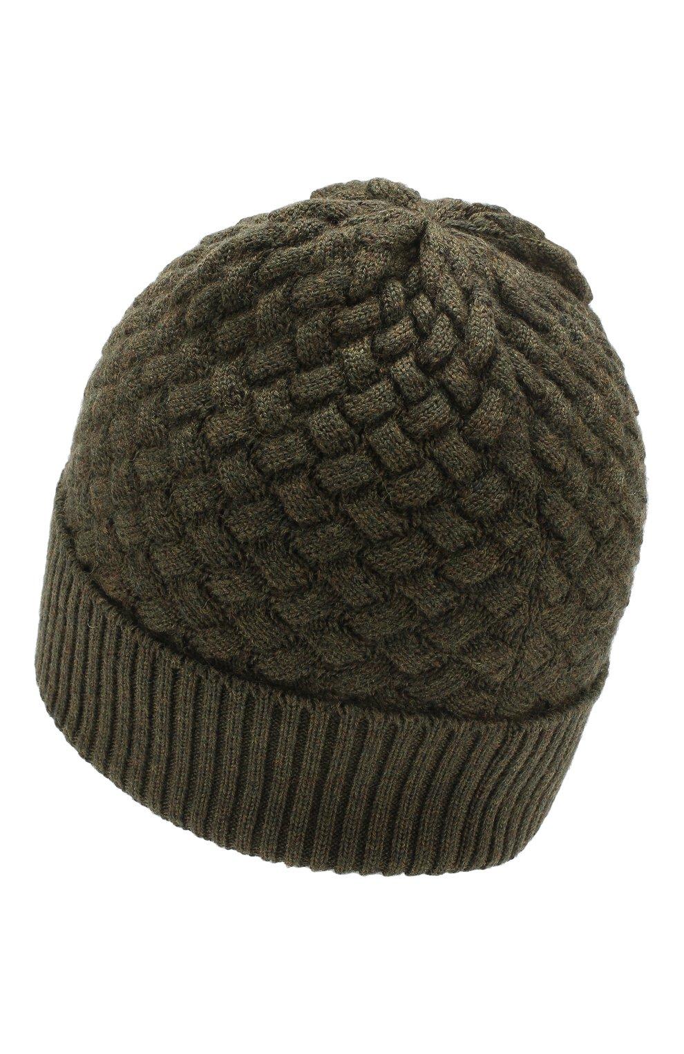 Женская шерстяная шапка BOTTEGA VENETA зеленого цвета, арт. 500396/4V206 | Фото 2