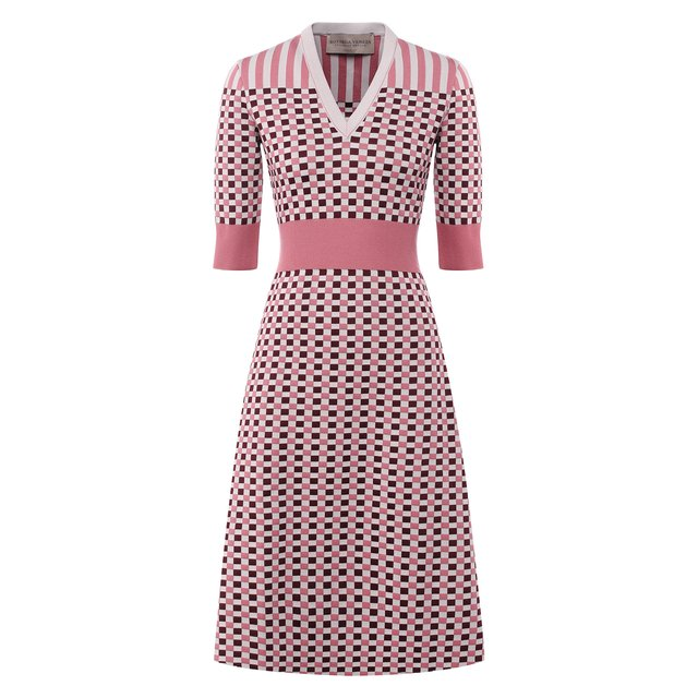 Платье из смеси шерсти и шелка Bottega Veneta