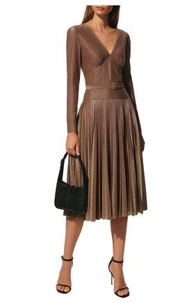 Женское платье с поясом BOTTEGA VENETA бронзового цвета, арт. 546068/VEYL0 | Фото 2