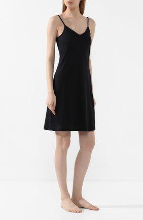 Женская хлопковая сорочка HANRO черного цвета, арт. 071346 | Фото 2