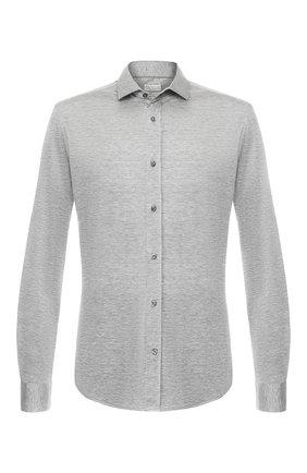 Мужская рубашка из смеси шелка и хлопка BRUNELLO CUCINELLI серого цвета, арт. MTS466699 | Фото 1